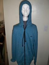 MEN'S BILLABONG ZIP-UP HOODIE SOLID TURQUOISE BLUE black LOGO ON CHEST N... - $36.99