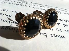 Black Crystal Faceted Rose Cut Clip on Earrings Golden Classy Feminine J... - $40.00
