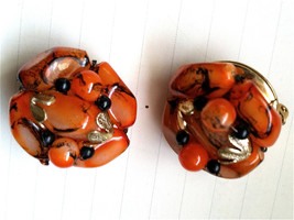 HONG KONG Clip on Earrings Cluster ORANGE Black Swirls Cool Beads Jewelr... - $35.00