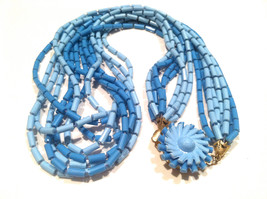 BLUE TORSADE Plastic Necklace Multi Strands Beaded Necklace Vintage Jewe... - $35.00