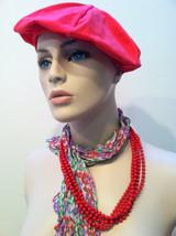 Red tomato Lipstick Classic Glamour Torsade Multi strand plastic beaded Necklace - $40.00