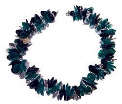 Emerald Green Metallic Silver Black Necklace Plastic Bold Color Block HO... - $35.00