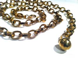 LINK Golden Gold Chain Links Metal Belt Military RUNWAY Statement Adjust... - $35.00