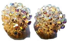 HOBE Splendorous Sparkly AB Aurora Borealis Crystal Cluster Clip on Earr... - $45.00