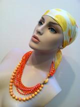 MULTI Strands Torsade Necklace Yellow Orange Pink Plastic Beads Molded V... - $40.00
