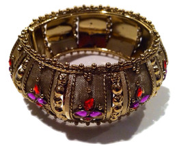 Ethnic Hinged Bangle Purple Orange Bold Bracelet Vintage Jewelry - $95.00