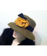 WOOL Made in USA Romantic Wide Brim Hat 1930s Designer Hat Millinery Gen... - $120.00