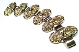 Art Nouveau Style Brushed Wash Golden Leaves Book Chain Link Bracelet Cuff  - $45.00