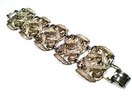 ART Nouveau Wide Chunky Panel Nature Leave Swirls Link Bracelet Runway Vintage - $45.00