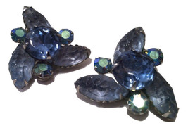 AUSTRIA Crystal Rhinestones Sparkling BLUE Glass Gorgeous Clip on Earrings  - $45.00