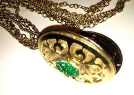 Green JADE Stone PICTURE Locket Pendant Necklace Golden Chain Authentic ... - $45.00