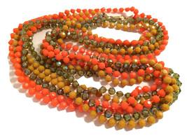 ORANGE Tan Beige Brown GREEN Torsade Multi strands plastic beaded Long N... - $40.00