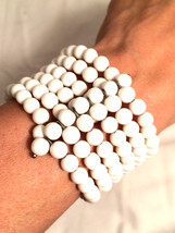 OLD Plastic Bubble Beaded WIRE Wrap WHITE Beads Wired Expandable Bracele... - $29.99