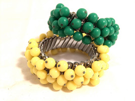 Bubbly Balls Charm Dangling Chacha cha EXPANDABLE plastic Green Yellow Red Color - $65.00