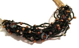 CARLISLE Designer Necklace Metallic Golden Baroque Pearl Black Seed Bead... - $65.00