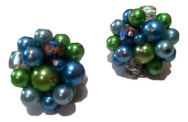 JAPAN stamped Lime GREEN Blue AB Crystal Pearls Cluster Clip on Earrings... - $35.00