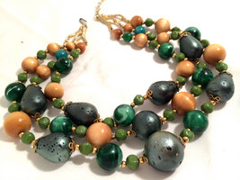 ART Marked Rare Green Yellow golden Plastic Wood Beaded Triple Strands N... - $75.00