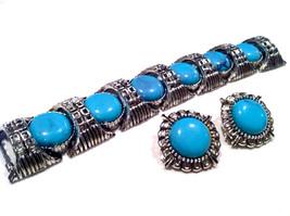 Turquoise Blue Cabochon Demi Parure Set Chunky Wide Link Bracelet Clip Earrings - $135.00