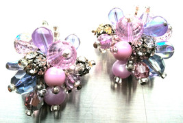 Fantastic 1950s clip earrings purple pink lilac blue runway statement Vi... - $70.00
