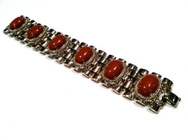 Carnelian Red Maroon Dark Amber Brown Lucite Domed Cabochon Basket Weave Chunky  - $50.00