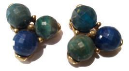 KRAMER Designer Clip on Earrings Blue Green Golden Cluster Unusual Vintage - $40.00