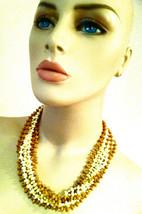 MULTI Strands Torsade Yellow Butter Cream Camel Brown Plastic Crystals S... - $25.00