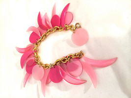 PINK Old Plastic CHARMS Mod Oversized Dangling Half Moon Circle Shapes B... - $35.00