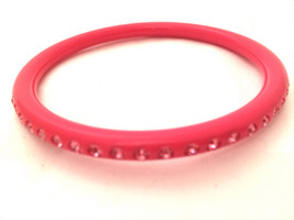 PINK Black Thin Smooth Bangle Embedded Clear Rhinestones Plastic Lucite ... - $30.00