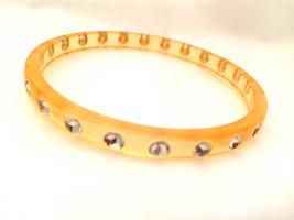Translucent Yellow Clear Rhinestones Old Plastic Lucite Acrylic Bracelet... - $45.00