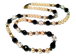 PEARLS Jet Black Clear Faceted Plastic Crystals Necklace Feminine Classic Vintag - $30.00