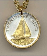 Bahamas 25 cent Gold on Silver Coin Jewelry Pendant Necklace - $46.00