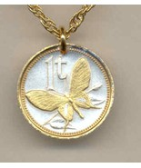 Papa New Guinea 1 toea 2 Toned Gold on Silver Coin Jewelry Pendant Neck... - $40.00