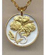 Cook Islands 5 cent, 2 Toned Gold on Silver Coin Jewelry Pendant Necklace - $44.00