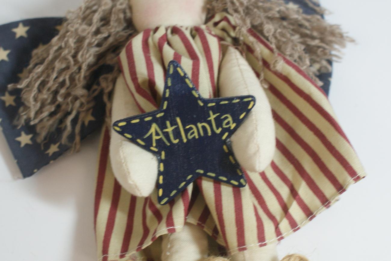 Atlanta Angel Cloth Doll Americana Primitive Handpainted Star