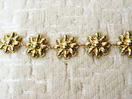 "38"" DAISY CHAIN CRAFT SEWING ACCESSORIES TRIM GOLDEN ACRYLIC BEADED FRIN... - $5.00"