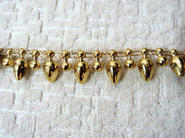 "38"" FLAT CHAIN CRAFT SEWING ACCESSORIES TRIM GOLDEN ACRYLIC BEADED FRING... - $5.00"