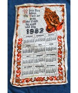 VINTAGE 1982 COTTON CALENDAR KITCHEN TOWEL BLESS THIS HOUSE O LORD WE PRAY - $14.80