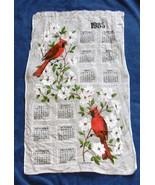 VINTAGE 1985 LINEN CALENDAR KITCHEN TOWEL CARDINAL BIRDS FLOWERS  R BATC... - $14.80