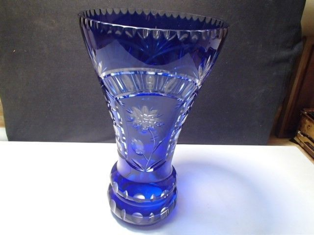 "AJKA-NACHTMANN~BOHEMIAN~~COBALT BLUE CUT TO CLEAR LARGE 12"" CRYSTAL VASE~~NICE"