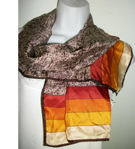 NWT GLENTEX SILK OBLONG SCARF  BROWn Orange stripes - $9.89