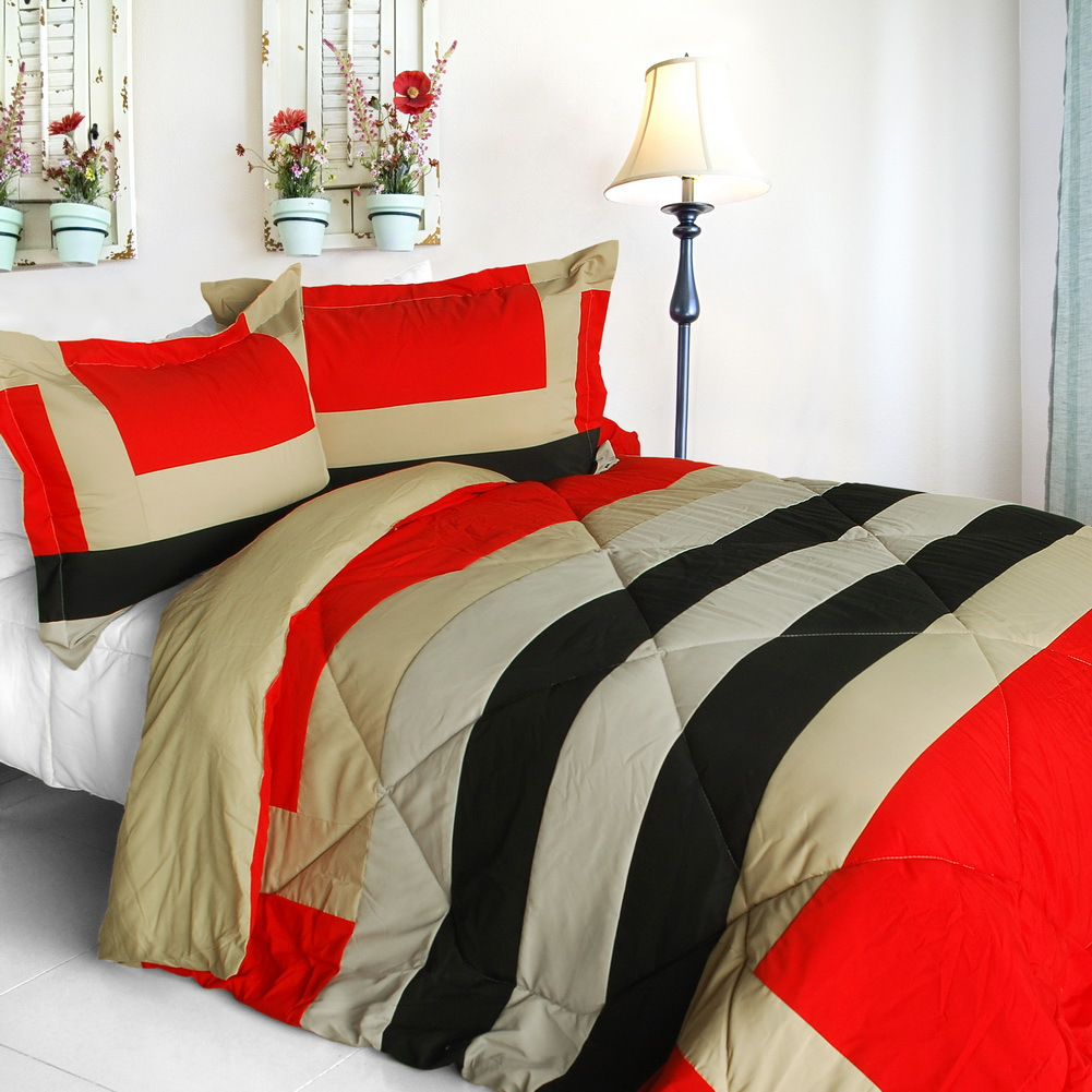 home prairie quilted patchwork down alternative comforter set full queen size comforters sets. Black Bedroom Furniture Sets. Home Design Ideas