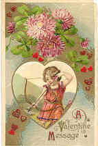 Valentine Message from Cupid 1912 Vintage Post Card - $6.00