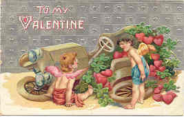 To My Valentine Cupid 1912 Vinntage Post Card - $6.00