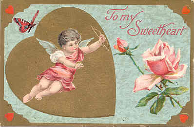 To my Sweetheart Vintage Cupid Post Card