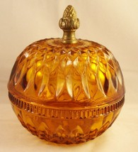 Vintage Amber Cut Glass Candy Dish Metal Acorn finial Covered Lid - $19.99