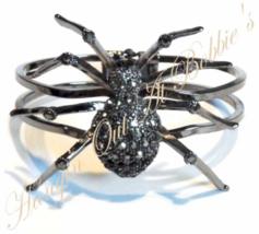 Spider Bangle Bracelet Gray Black Crystal Pewter Tone Metal Autumn Halloween - $39.99