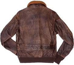 G1 Fur Collar Aviator Pilot Air Force Distressed Brown Genuine Leather Jacket image 2