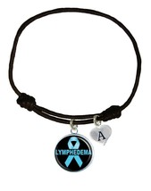 Custom Lymphedema Awareness Black Leather Unisex Bracelet Jewelry Choose Charm - $13.94