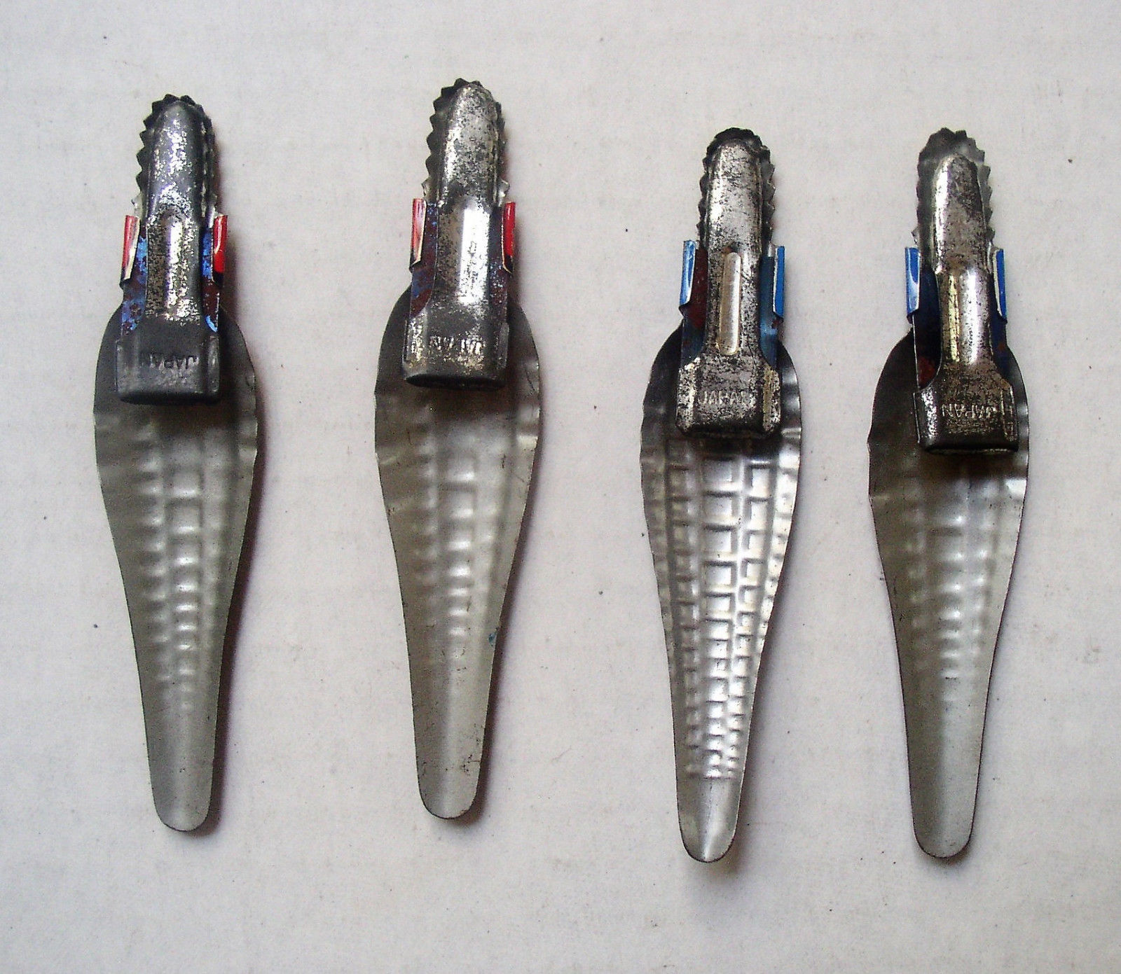 4 Alligator Or Crocodile Japan Tin Litho Clickers Clips early 1960s Vintage