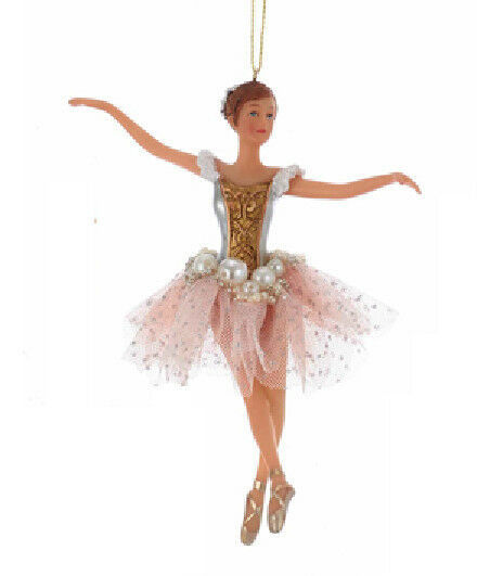 "Primary image for KSA 6.5"" PINK & GOLD BALLERINA w/PEARL & PINK TULLE SKIRT XMAS ORNAMENT"